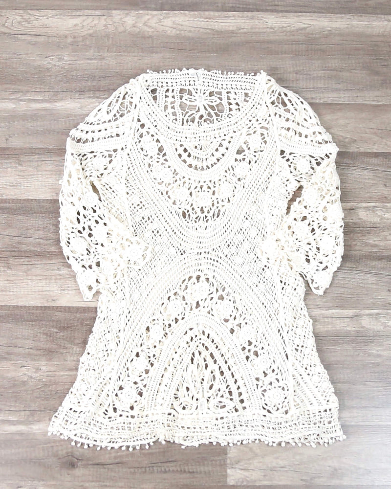FINAL SALE - Crochet Lace Beach Cover Up Dress in Ivory