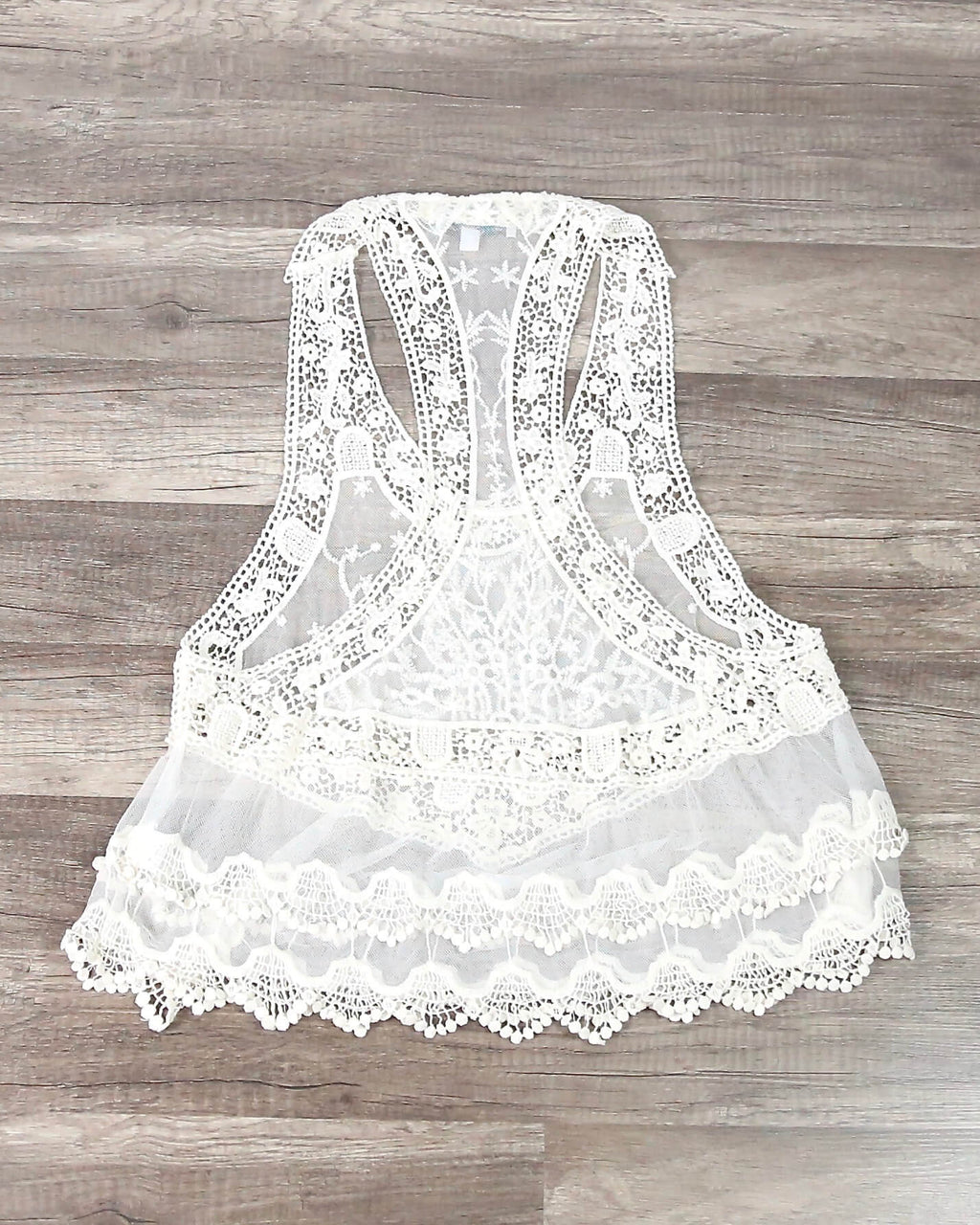 FINAL SALE - Lace Embroidered Mesh Tank Top in Ivory