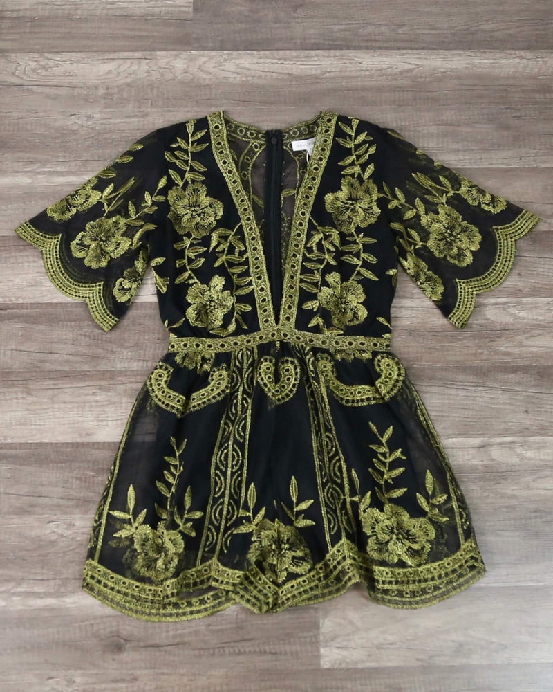Honey Punch - As You Wish Contrasting Embroidered Lace Romper in Black/Gold