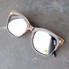 quay - bronx half-rimmed sunglasses - coffee with silver mirror lens - shophearts - 4