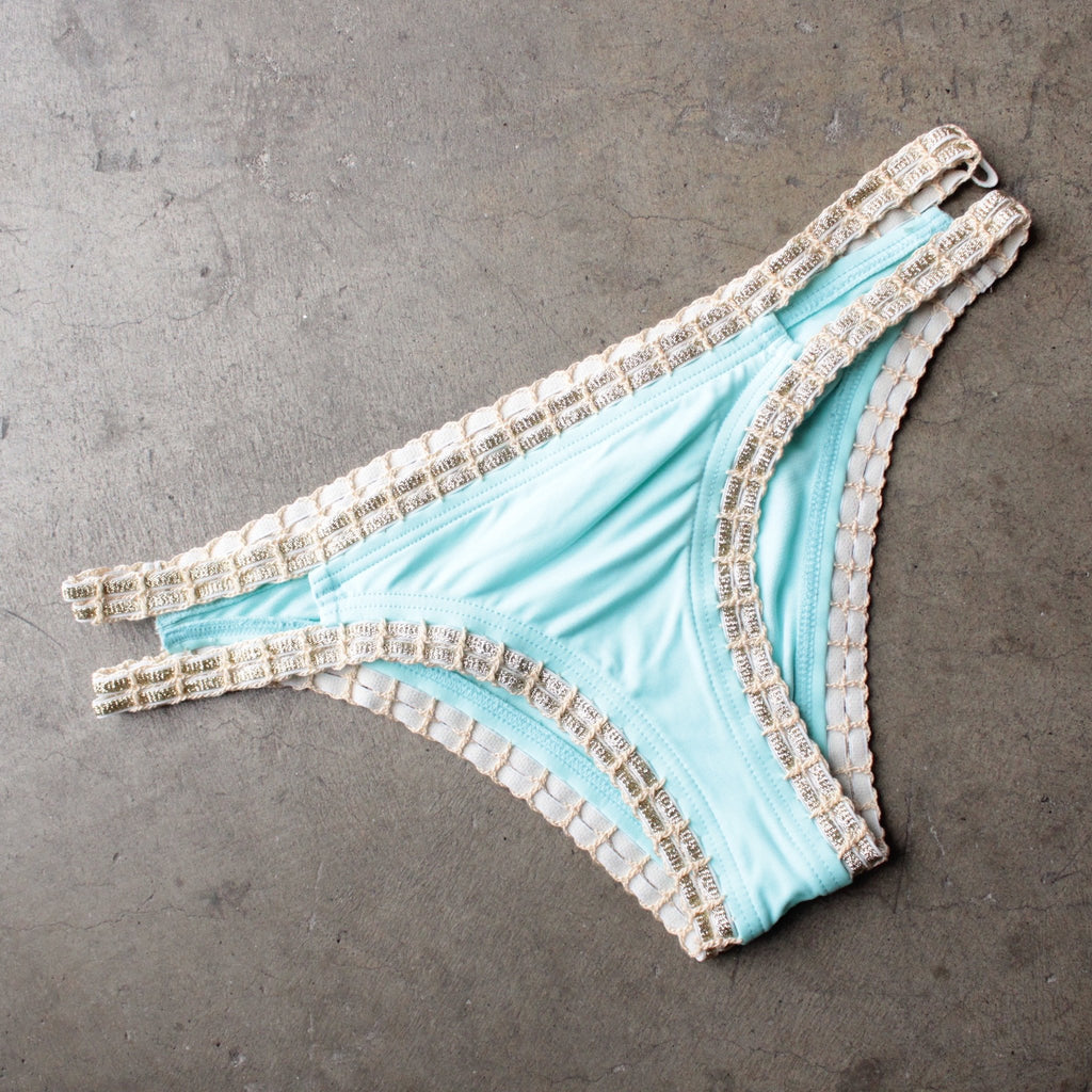 bikini lab - mix & match weaving on a jet plane hipster bikini bottoms - blue - shophearts - 1