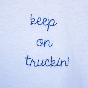 BSIC - keep on truckin' white + blue ringer tee - shophearts - 3
