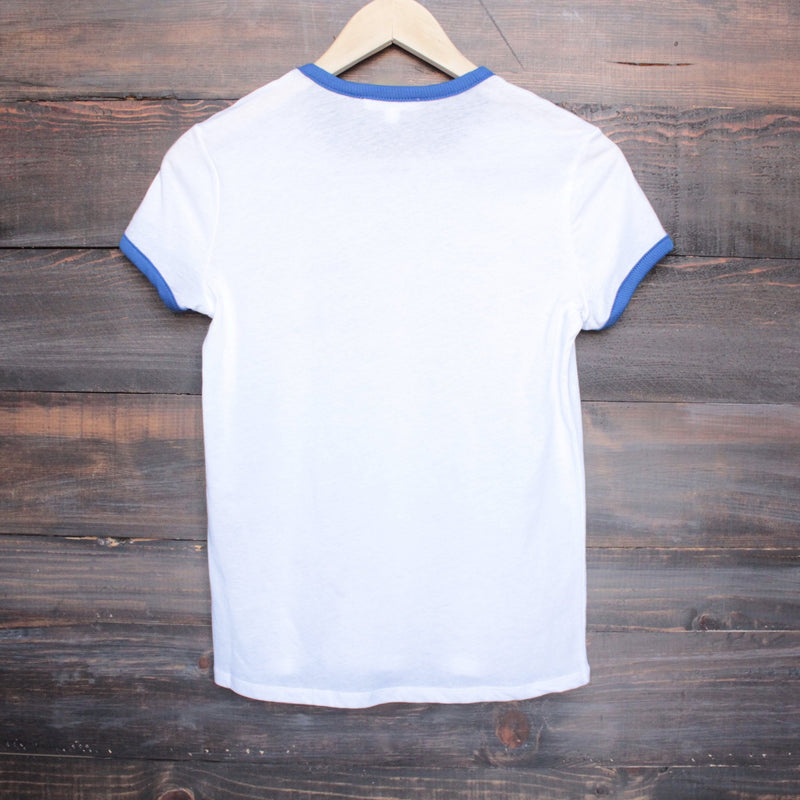 BSIC - keep on truckin' white + blue ringer tee - shophearts - 2