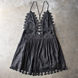 summer lace mini dress - black - shophearts - 5