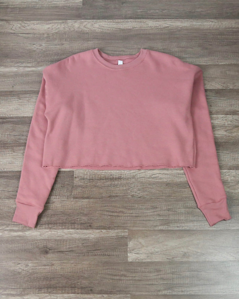 Distracted - Women's Cropped Crew Fleece Sweater in Mauve