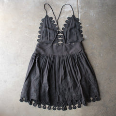 summer lace mini dress - black - shophearts - 2