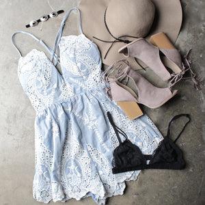 lace one piece embellished embroidered denim romper - shophearts - 7