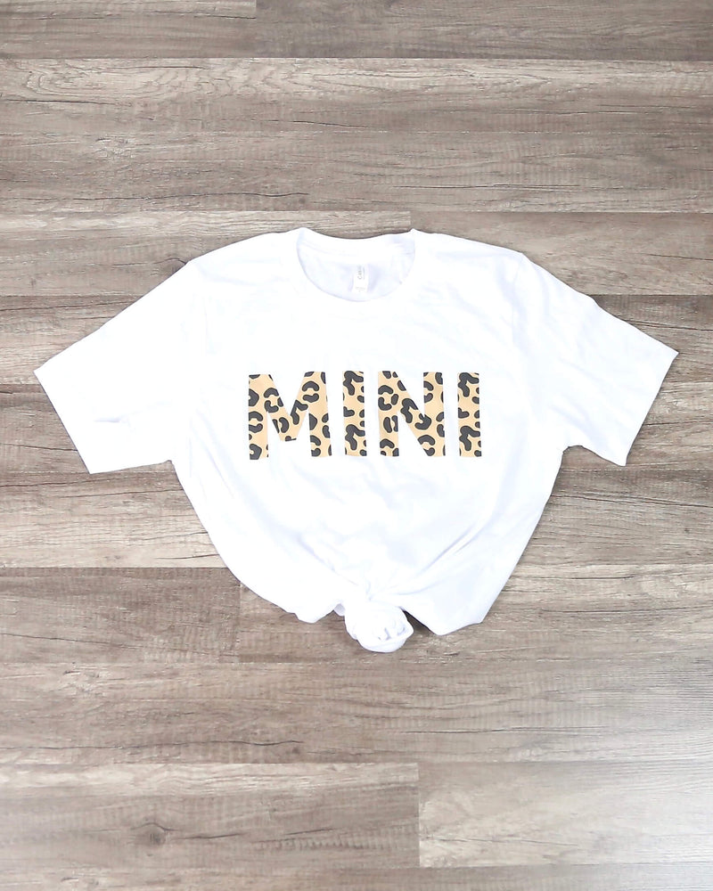 Distracted - Leopard Mini Text Graphic Tee in White