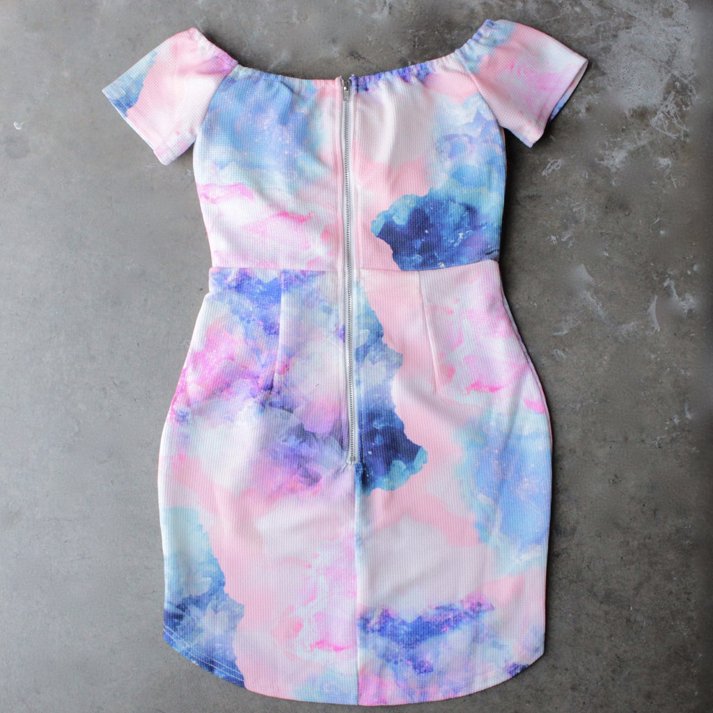 dreamy off the shoulder watercolor bodycon dress - shophearts - 2