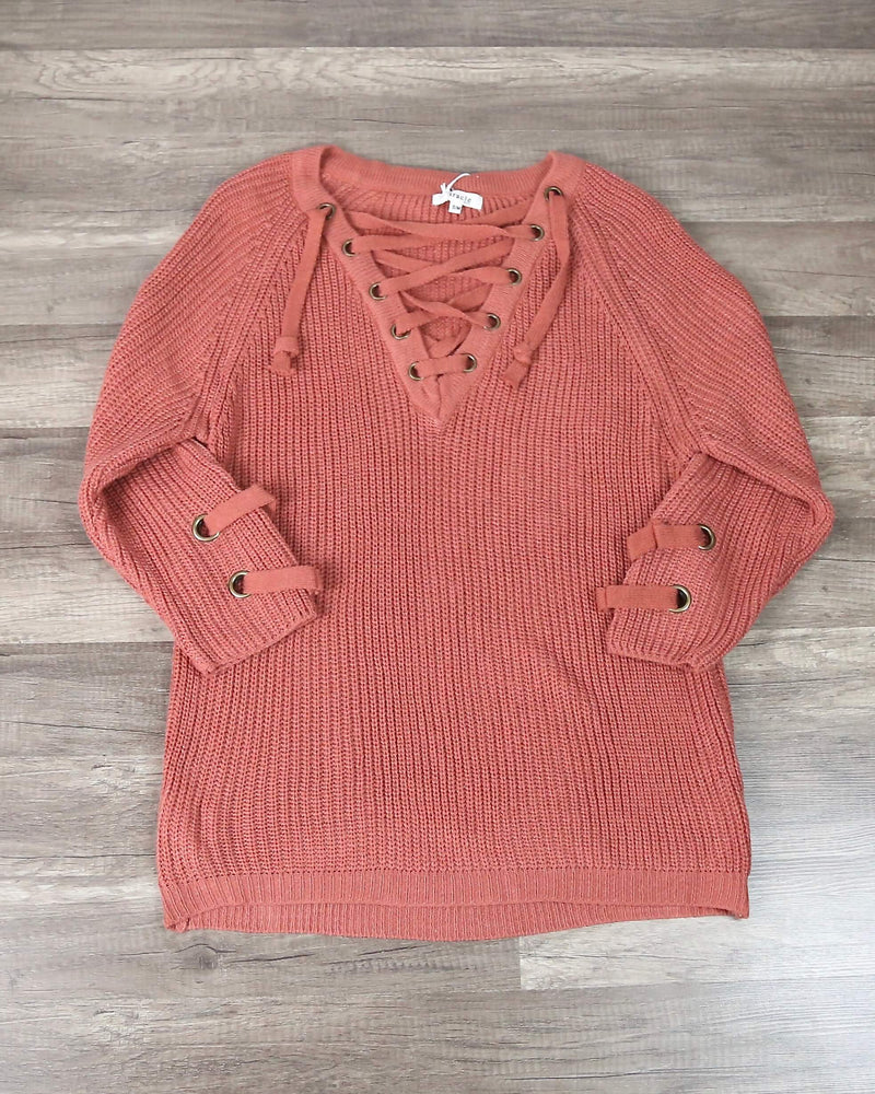 Lace Up Grommet Sweater in Marsala
