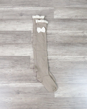 Knee High Socks With Lace Trim and Bow in More Colors