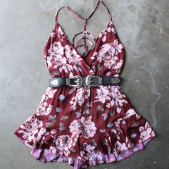 reverse - girl crush romper in burgundy floral - shophearts - 3