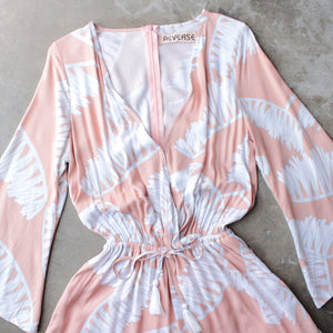 reverse - day in the sun romper in peach jungle - shophearts - 3