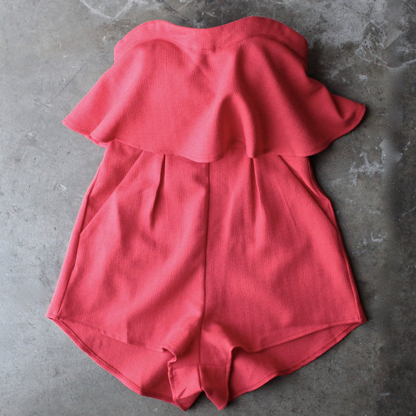 ruffled strapless romper - red - shophearts - 2