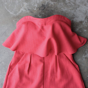ruffled strapless romper - red - shophearts - 4