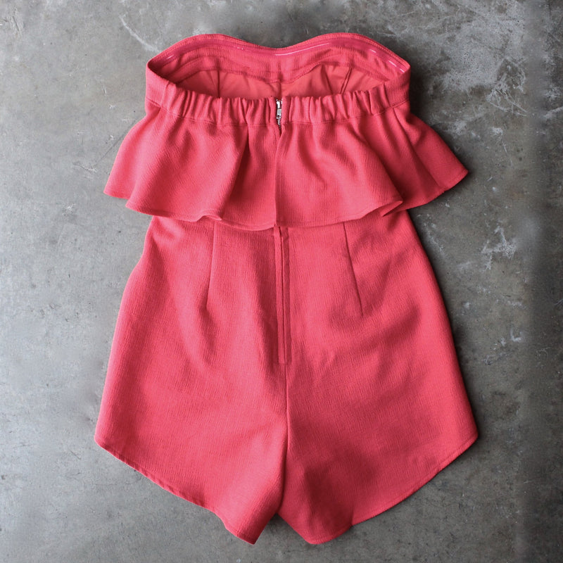 ruffled strapless romper - red - shophearts - 1