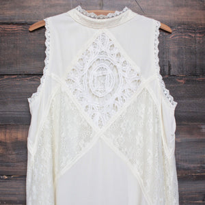 [womens contemporary] mock-neck lace dress in cream - shophearts - 3