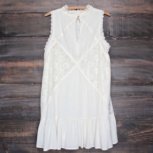 [womens contemporary] mock-neck lace dress in cream - shophearts - 2