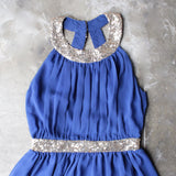 stepping out pleated halter dress with gold sequin - blue - shophearts - 3