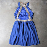 stepping out pleated halter dress with gold sequin - blue - shophearts - 2
