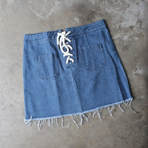 denim lace up skirt - shophearts - 1