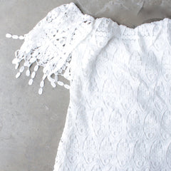 off the shoulder fringe crochet bodycon dress - white - shophearts - 3