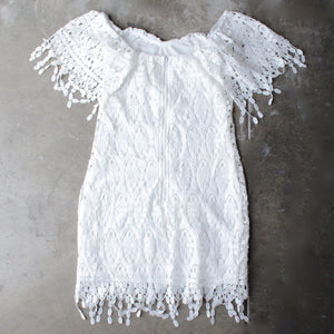 off the shoulder fringe crochet bodycon dress - white - shophearts - 2