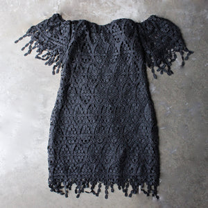 off the shoulder fringe crochet bodycon dress - black - shophearts - 1