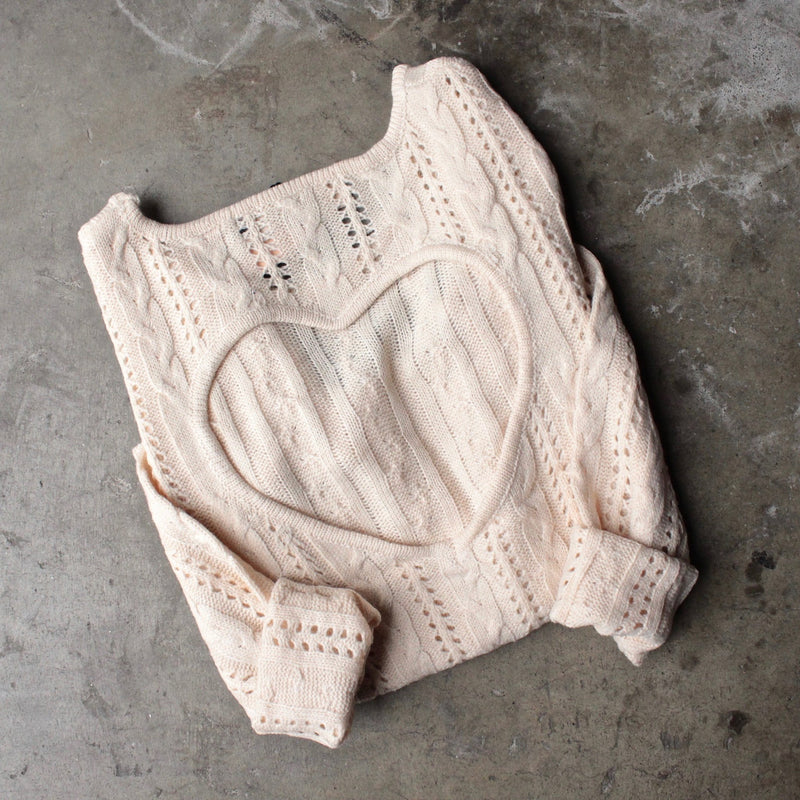 heart cut out sweater in beige by reverse - shophearts - 1