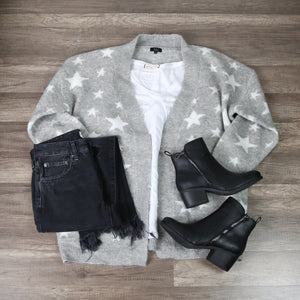Dreamers - Star Pattern Print Open Front Knit Cardigan in Grey