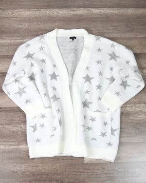 Dreamers - Star Pattern Print Open Front Knit Cardigan in White