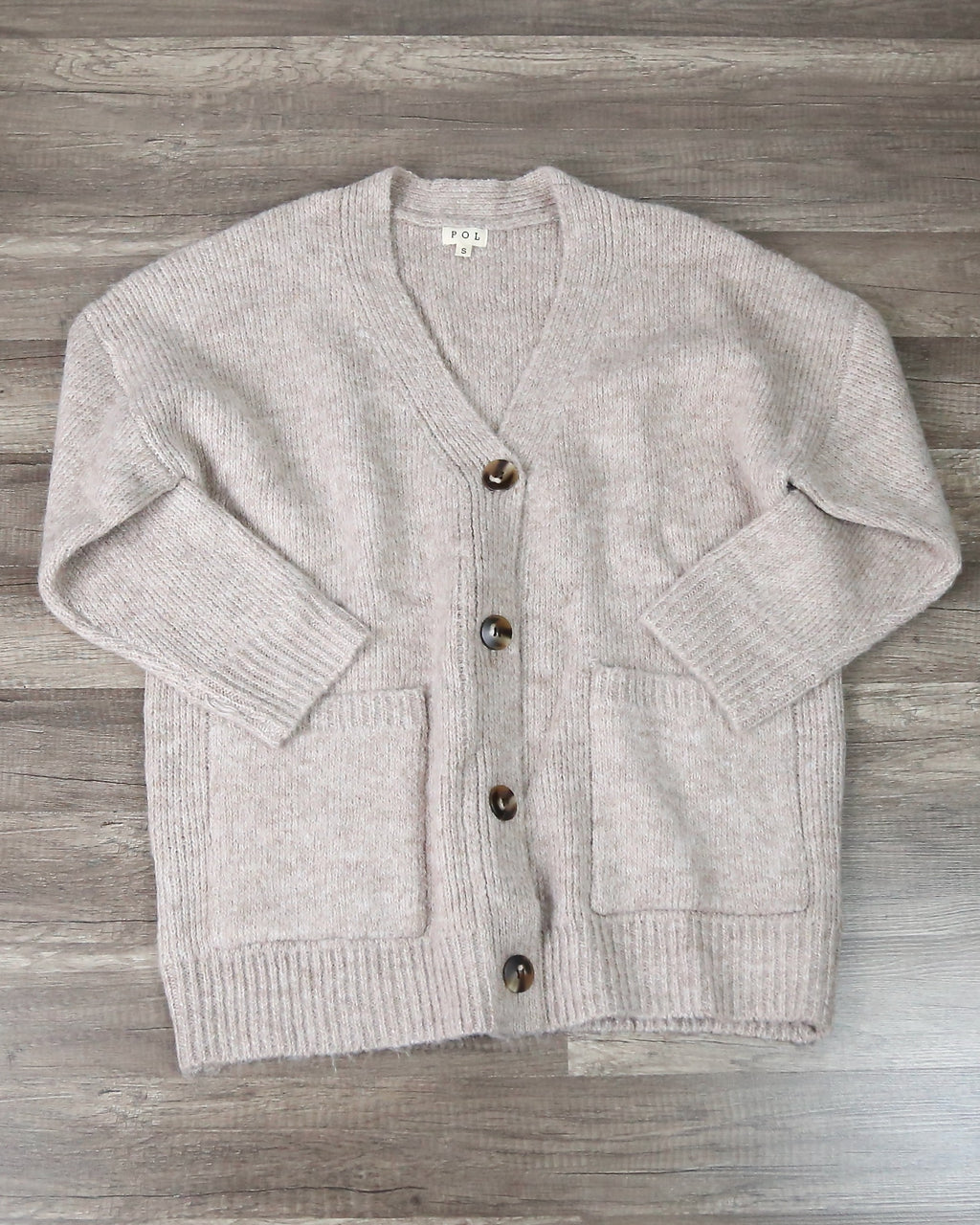 Ophelia Oversized Button Front Knit Cardigan in Wheat Grain