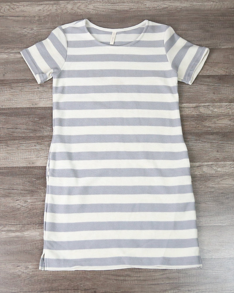 Striped French Terry Tee Shirt Dress