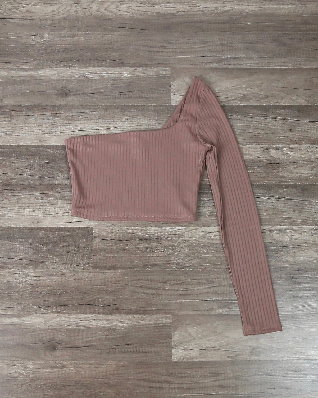 Rebekah Ribbed One Shoulder Long Sleeve Crop Top in Mocha