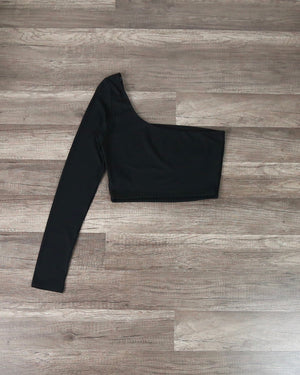 Rebekah Ribbed One Shoulder Long Sleeve Crop Top in Black