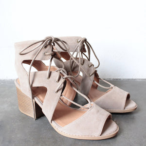 lace-up cutout heeled sandal - taupe - shophearts - 5