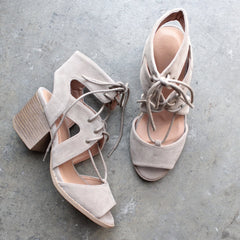 lace-up cutout heeled sandal - taupe - shophearts - 2