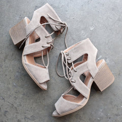 lace-up cutout heeled sandal - taupe - shophearts - 1
