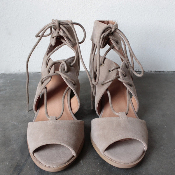 lace-up cutout heeled sandal - taupe - shophearts - 3