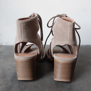 lace-up cutout heeled sandal - taupe - shophearts - 4
