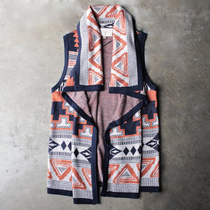 knitted waterfall vest with aztec design - shophearts - 1