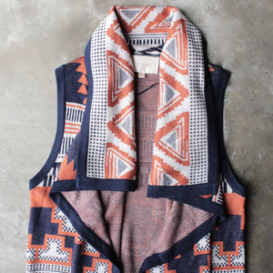 knitted waterfall vest with aztec design - shophearts - 2
