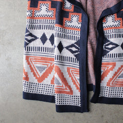 knitted waterfall vest with aztec design - shophearts - 3