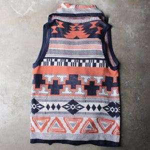 knitted waterfall vest with aztec design - shophearts - 4