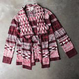long sleeve cascading open front geometric print cardigan - shophearts - 1