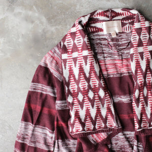 long sleeve cascading open front geometric print cardigan - shophearts - 2