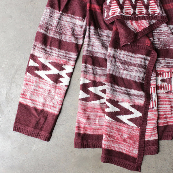 long sleeve cascading open front geometric print cardigan - shophearts - 3