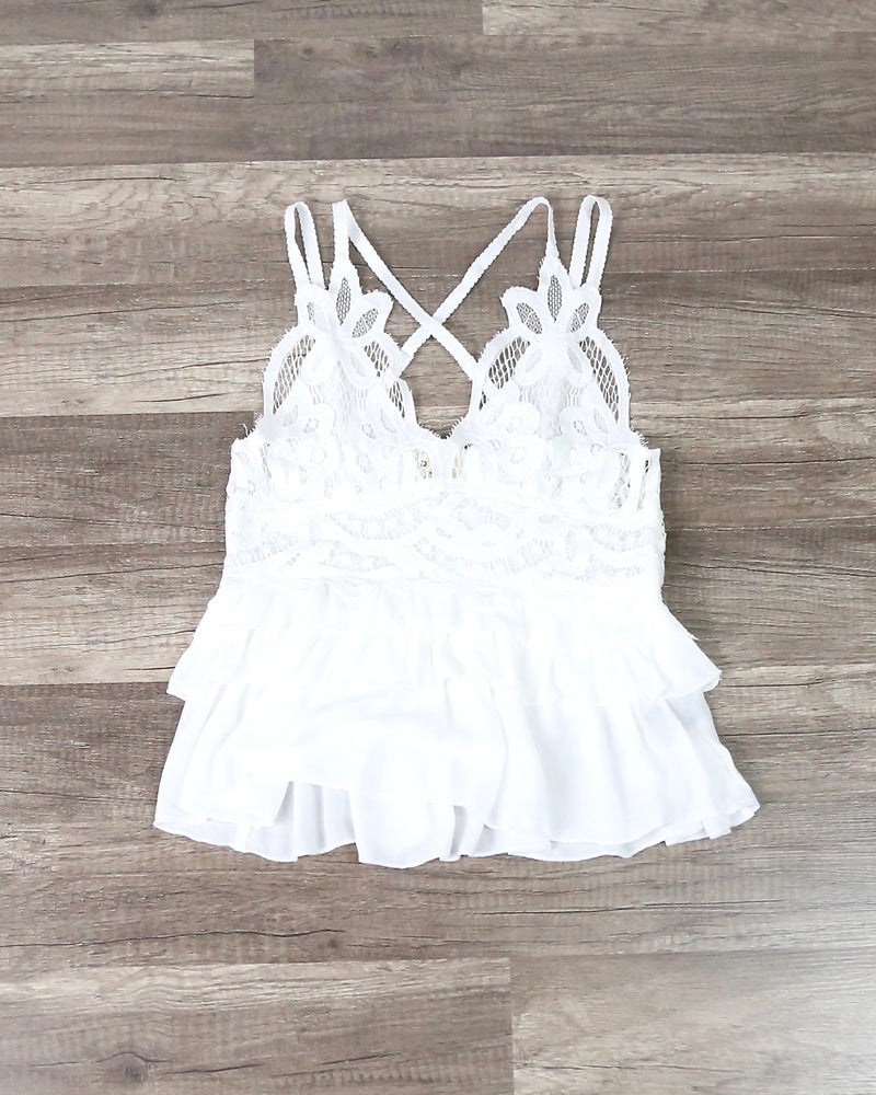 Lace V-Neck Tiered Ruffle Top with Smocked Back in Ivory