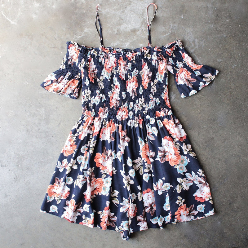 smocked cold shoulder romper in navy floral print - shophearts - 1