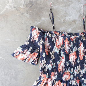 smocked cold shoulder romper in navy floral print - shophearts - 2